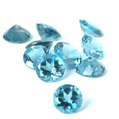 NATURAL AWESOME BLUE TOPAZ LOOSE GEMSTONES  (4 pieces)) ROUND SHAPE (3.0 mm)