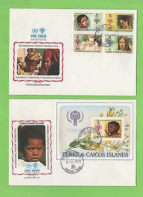 Turks & Caicos 1979 International Year of the Child set & m/s on two FDC's