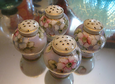 Antique Gilt Set Of 4 Hand Painted Nippon Salt And Pepper Shakers