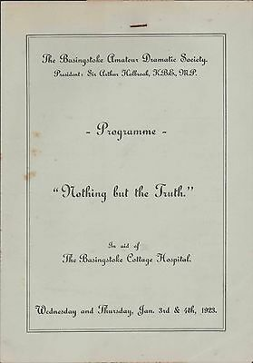 Basingstoke Amateur Dramatic Society. 'Nothing But The Truth' 1923   Zn.1