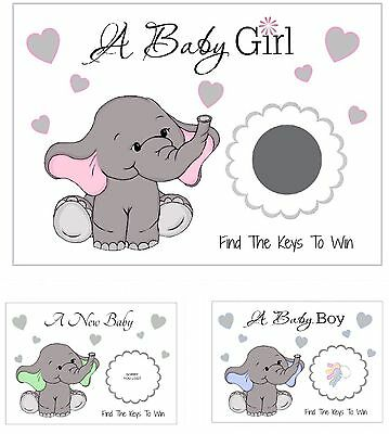 Baby Elephant Scratch cards/game/party/baby shower/Boy/Girl/Unisex/