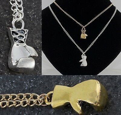 "Gold or Silver Plated Boxing Glove Pendant Chain Necklace Mens & Boys 20"" Inches"