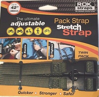 "ROK Straps Motorcycle Luggage Tie Down Adj Straps 12""-42"" x 5/8 Green CAMO"