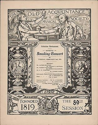 Criterion Restaurant. Smoking Concert. 1909. Old Acquaintance Society   zn,5