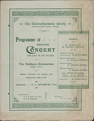 Holborn Restaurant. Smoking Concert. 1910 Kingsbury. Ernest Pike   ( zn.6)