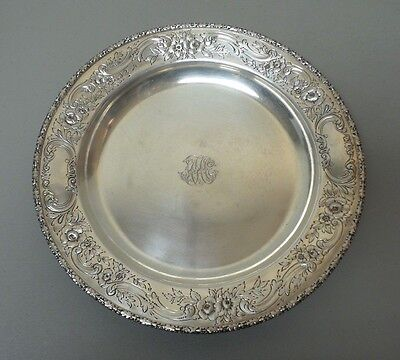"""VINTAGE REED & BARTON STERLING SILVER CHASED 14"""" TRAY, MONOGRAM, 32.16 oz. T."""
