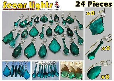 Crystals Christmas Decorations Peacock Green 24 Glass Tree Drops Bead Chandelier