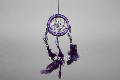 Purple Dream Catcher w feathers wall hanging decoration ornament-10""