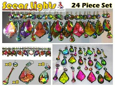 Gothic Chandelier Crystals 25 Glass Droplets Christmas Decorations Iridescent Ab