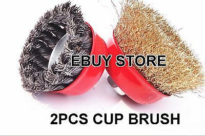 """2pcs 3"""" x 5/8"""" Arbor FINE Crimped & Knot Wire Cup Brush Twist For Angle Grinders"""