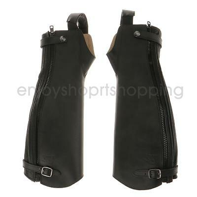 Pair Zipped Leather Equestrian Horse Riding Gaiters Half Chaps For Men Women
