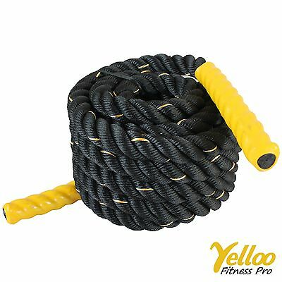 CORDA Fitness FUNE Allenamento Power CrossFit Battle Rope 9 metri x 38 mm GIALLA
