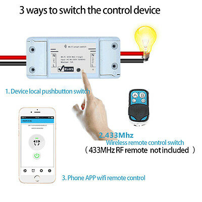 Home Smart Remote Control  WiFi Power Socket Wireless Timer Switch IOS/Android