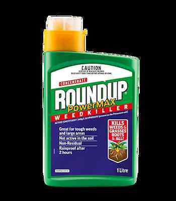 Roundup Powermax Weedkiller Liquid Concentrate 1L Kills Weeds and Grasses