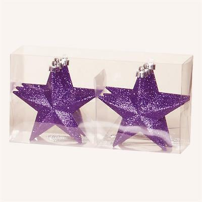 Christmas Tree Decoration 6 Pack 100mm Shatterproof Glitter Star Baubles Purple