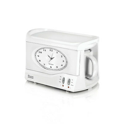 Swan Vintage Retro Teasmade Compact 600ml Tea Maker Clock Alarm All In One White