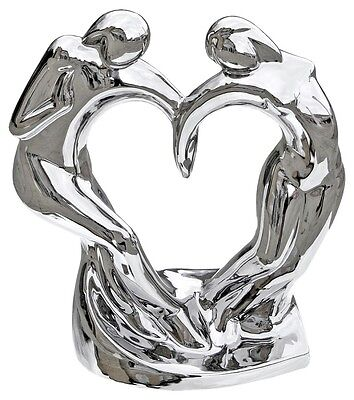 Mirrored Silver Dancing Couple Sculpture Wedding Gift Ornament Home Decor