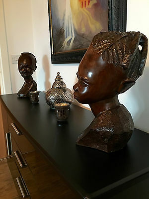 Two Carved African Hardwood Busts Male Female Historical Interest Vintage