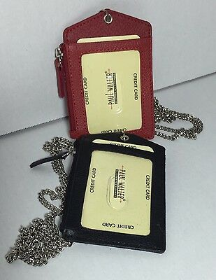 New Set Of 2 Leather Id Badge Holder Red/black Zippered Lanyard With Neck Chain