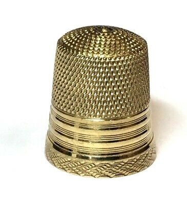 Vintage 10K Yellow Gold Metal Sewing Thimble