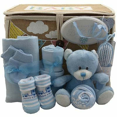 Baby gift basket/hamper 9 items inc. keepsake boy nappy cake baby shower/gift