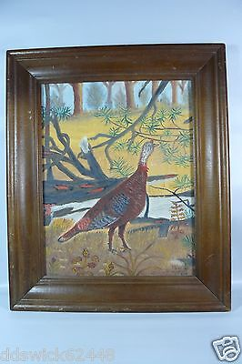 Framed Painting of WILD TURKEY Walking in Woods - Signed - 1984