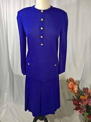 Vintage Castleberry 2pc Knit Suit Size 8 Sapphire Blue