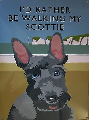 Walking Scottie Metal Sign