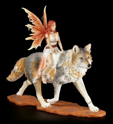 Elves Figurine Administrator with Timba Wolf Companion Fairies Collectible