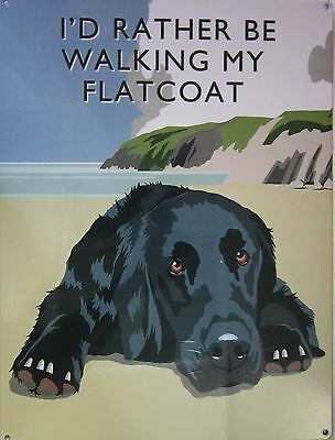 Walking Flatcoat Metal Sign
