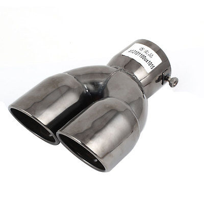 """3"""" Inlet Dia Black Stainless Steel Two Outlet Exhaust Muffler Tip for Auto"""