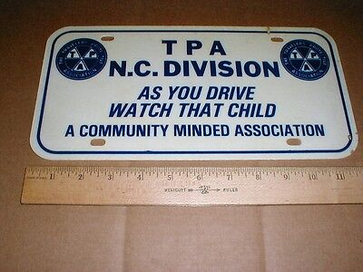 Travelers Protective Association TPA North Carolina vintage license plate tag NC