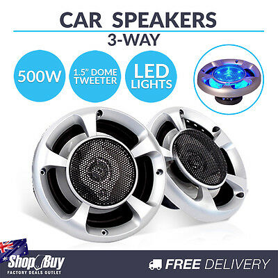 2 x 6.5in 500W LED Light Car Speakers 3-Way Stereo Audio Sound System