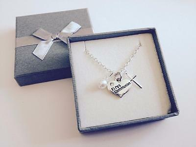 Girl's first holy communion necklace with charm pendant chain - gift boxed