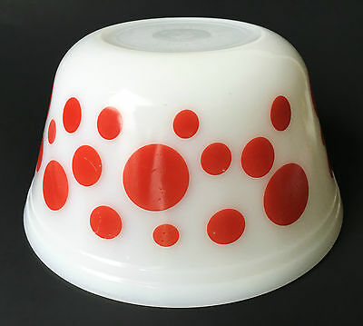 """Ferderal USA Red Dots Spots White Milk Glass 8"""" Mixing Bowl"""