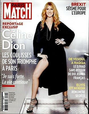 Celine Dion New French Paris Match Magazine France July 2016 Mag Encore Un Soir