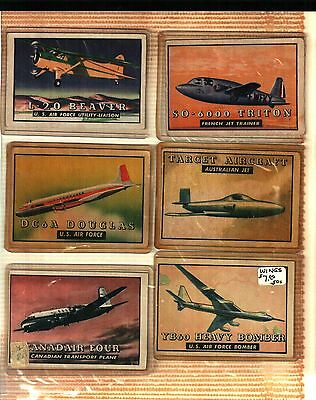 Vintage 1952 Topps WINGS Airplane Friend or Foe Lot Of 8 Cards FAIR TO GOOD
