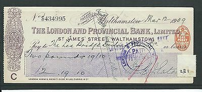 wbc. - CHEQUE - CH231 - USED -1900's - LONDON & PROVINCIAL BANK, WALTHAMSTOW