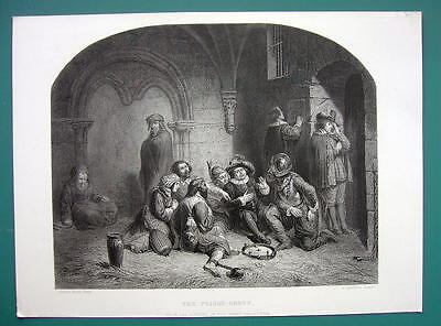 CRIMINALS Different Crimes in Prison - SUPERB 1850s Antique Print