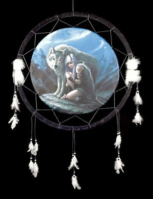 Large Dream catcher with Wolf - Protector - Anne Stokes Decor Fantasy