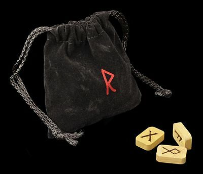 Runes From Wood - with Pouch - Magic Ritual supplies Ritual