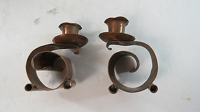 Pair of Craftman hand made and hammered mission Candlesticks