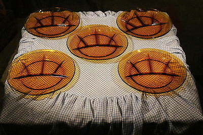 Amber Glass Duralex Fondue Plate Canapes Glass Plates 5 Divided Grill Plates