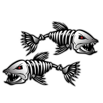 Pack of 2 Skeleton Fish Vinyl Decals for Boat Fishing Graphics Bone Stickers
