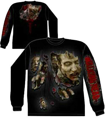 Official The Walking Dead Walkers Ripped Zombie Long Sleeve Shirt -Daryl Zombies