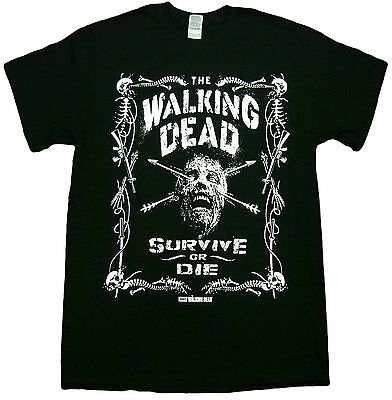 Official The Walking Dead Border Of Bones Survive or Die Zombies Adult T-Shirt