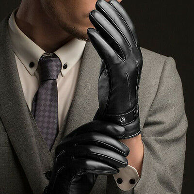 Men's Warm Driving Smartphone Touch Screen Gloves Winter Full Finger PU Leather