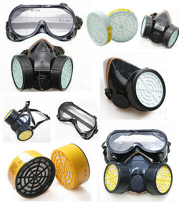 Filte Suit Dual Cartridge Gas Mask Dust Paint Protection Safety Respirator