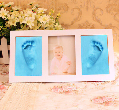 HOT Print Cast Foot or Hand Cute Baby Gift Photo Frame Footprint Set