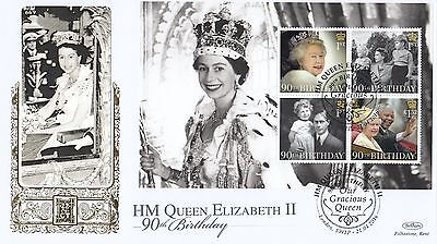 (74421) GB Benham FDC Queen 90th Birthday 22Ct Gold Booklet Pane 2016, 222/500